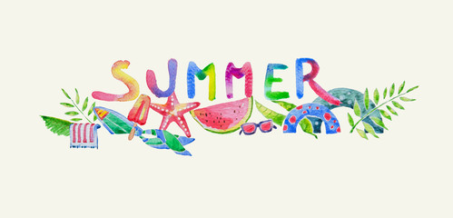 Colorful Summer Label in Watercolor created by Hand Drawn, Beach Accessories Illustration. included Text
