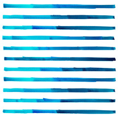 Abstract navy blue,turquoise or blue tone color horizontal lines watercolors hand paint isolated on white background. Detail or closeup brush stroke texture design backdrop.