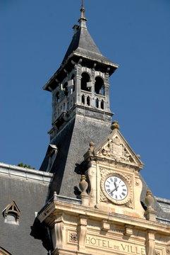 Château-Thierry, ville du département de l'Aisne, clocher de l'Hotel de Ville, France