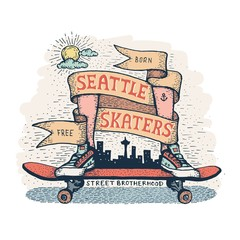 Legs in sneakers standing on skateboard, surrounded by  heraldic ribbon with inscription. Handcrafted color emblem in a hipster style, dedicated to skaters of Seattle.
