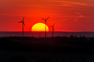 In de dag Rood traf. Wind farm of wind turbines