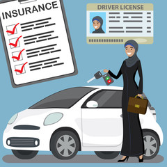 muslim woman with car key and modern white car