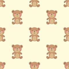 Cute bear toy seamless pattern,