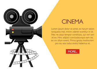 Retro movie projector poster. Cartoon vector illustration. Cinema concept. Film projector with film reels. Vector illustration on white background. Web site page and mobile app design