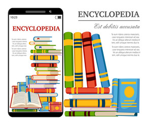 Smartphone with digital books. Online library concept. Read encyclopedia in web. Cartoon style design. Vector illustration isolated on white background website page and mobile app design