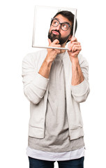 Hipster man with framework on white background