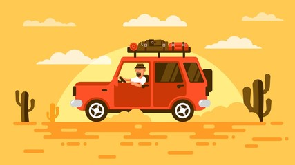 Bearded toBearded touris, drives  SUV car in desert, surrounded by cactus, on sunset. On roof carries his luggage. Illustration in flat style.urist in a hat, rides a car in desert.