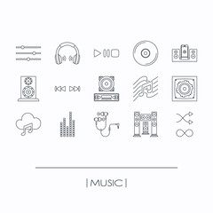 collection of music outline icons