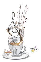 Abstract musical design with piano and a coffee cup