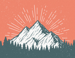 Retro Mountain Postcard
