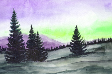 Hand drawn illustration of tundra with coniferous trees on the background of mountains