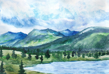 Hand drawn watercolor landscape. Mountain lake on the background of peaks