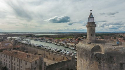 Aerial view of the canal du Rhone A Sete and Constance Tower.