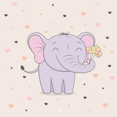 Cute elephant with flowers on background of hearts. Children's graphics.