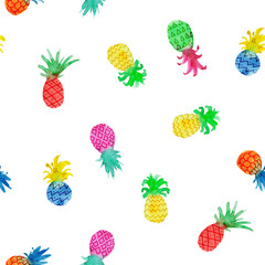 Seamless pattern with multi-colored pineapple on a white background. Watercolor