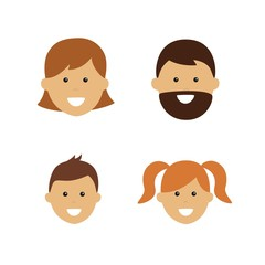 cartoon family face icons. two adults and two children
