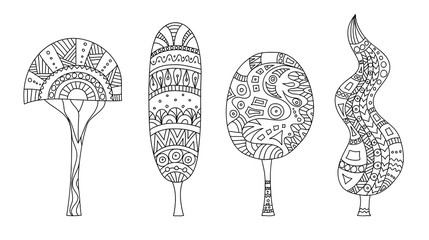 Sketches of trees. Vector illustration. Zentangle.