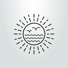 Black and white abstract sun, sea and seagull icon