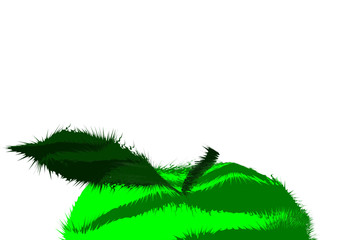 close-up of the top of a green apple. made as if from a multitude of threads