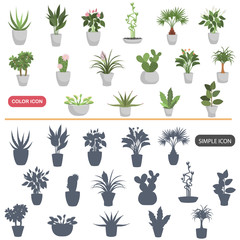 Color flat and simple home plants icons set