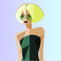 Portrait of yound pretty girl in suglasses and dress. Blonde woman in gradient green dress. Color vector illustration of glamour model.
