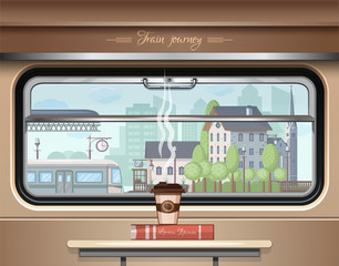 A glass of coffee and a book on the table in the train car. Train journey. View of the railway station from the train window. Vector illustration