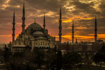 Nice sunset in the Blue Mosque Istanbul