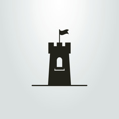 Black and white icon of a tower with a flag