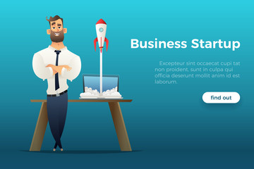 Businessman standing by the desk with a laptop, a rocket is starting from the laptop. Business startup concept. Successful launch of Internet project