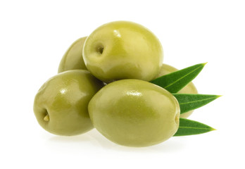 Green olives isolated on white background