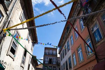 Festive decorations in the streets of Porto, Portugal