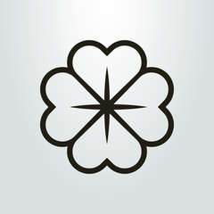 Black and white four-leafed clover icon