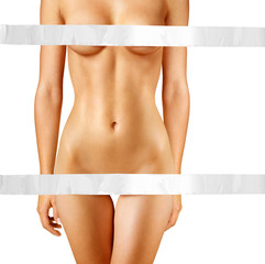 Poster Akt beautiful body with white tape