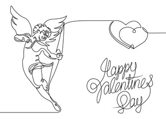 Continuous one line drawn silhouette of cupid angel