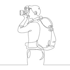Continuous single one drawn line of the tourist character tourist photographer with camera and backpack