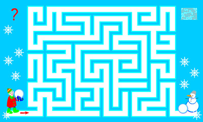 Logic puzzle game with labyrinth for children and adults. Help the boy find the way till the snowman. Vector image.