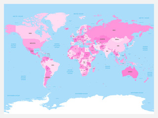 Wall Mural - World map atlas. Pink colored political map with blue seas and oceans. Vector illustration.