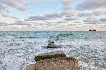 Concrete pier goes to the sea