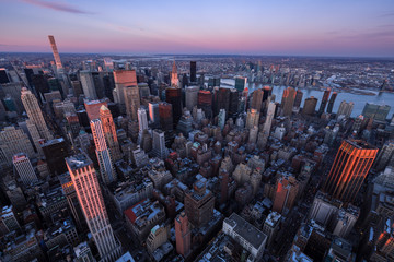 Aerial view of Midtown Manhattan skyscrapers at Sunset, Murray Hill, New York City