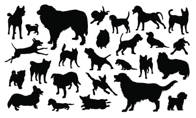 Set of silhouettes of dogs vector illustrations - Isolated on white background