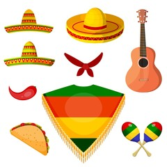 Set of items in the national style of a Mexican musician. Vector illustration