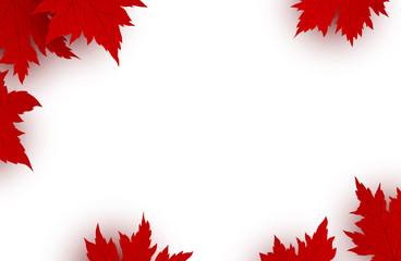 Canada day background design of red maple leaves isolated on white background with copy space vector illustration