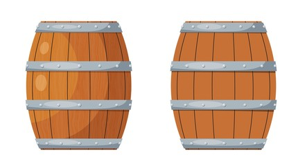 Color image of a wooden barrel on a white background. Wooden wine barrel in the style of a cartoon vector illustration