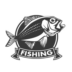 Red snapper with rods and ocean waves fishing logo isolated on white  illustration.