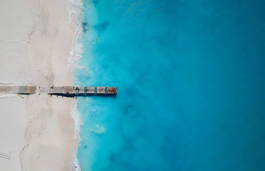 Drone panorama of pier in Grace Bay, Providenciales, Turks and Caicos