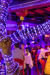 Restaurant and night time. Bali island.