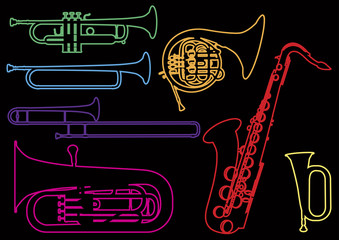 A set of illustrations of wind musical instruments