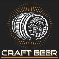 Craft beer logo- vector illustration, emblem brewery design on dark background.