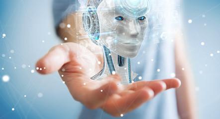 Businessman using digital artificial intelligence interface 3D rendering