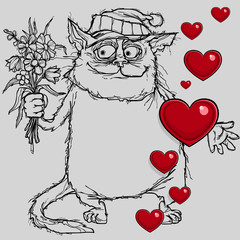 cartoon cat in love with flowers in hand